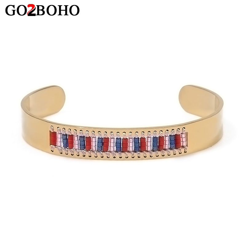 Go2boho Bracelets Women Stainless Steel Cuff Bracelet Rainbow Crystal Beads Beaded Bangles Fashion Jewelry Valentines Day Gift