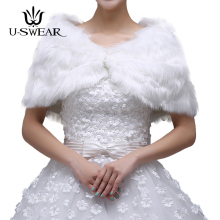 U-SWEAR 2018 New In Warm Faux Fur Soft Ivory Wedding Jackets Women Elegant Accessories Bridal Wraps Shawls