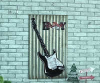 HAPPY Large Guitar Tin Sign Vintage Iron Painting KTV Bar Hanging Ornaments Decor Retro Mural Poster Metal Wall Sticker 60X40 CM