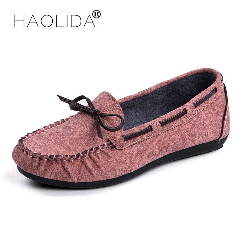 HAOLIDA Shoes Woman Fashion 100% Genuine Leather Women Flats Casual Shoes Loafers Women Flat Shoes Moccasins Slip Driving Shoes cyabmoz 2017 flats new arrival brand casual shoes men genuine leather loafers shoes comfortable handmade moccasins shoes oxfords