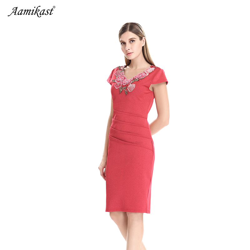 AAMIKAST Womens Elegant Ruffle Embroidery Ruched Slim Tunic Casual Party Evening Special Occasion Sheath Pencil Bodycon Dress