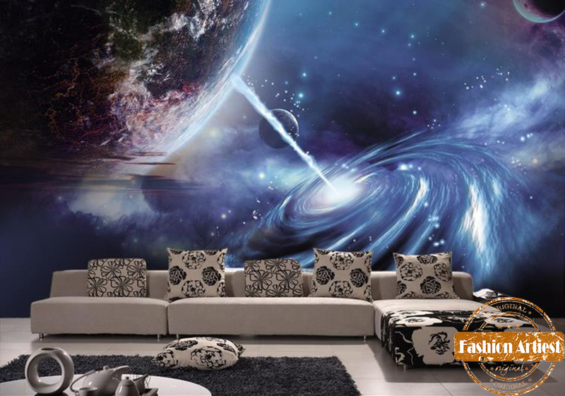 Buy custom 3d wallpaper mural star of for Space wallpaper bedroom