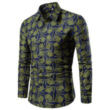 M-4XL Flower Blouse Men Shirt Long sleeve Floral Mens Shirts Casual Hawaiian Style Fashion Black Blue Green New