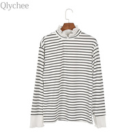 Qlychee Lace Stripe Patchwork Flare Sleeve Blouse Women Cute High Neck Long Sleeve Shirts