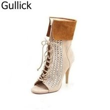Crystal Embellished Women Boots Suede Leather Open Toe High Heels Good-Looking Rhinestone Cross Strap Sandal Boots Free Shipping недорого