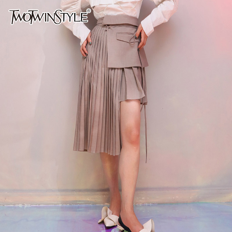 TWOTWINSTYLE Pleated Skirt For Women High Waist Lace Up Patchwork Pocket Asymmetrical Midi Skirts Summer Fashion