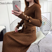 965376779d Sanishroly 2018 Women Beading Sweater Dress Autumn Winter Tie Bow Sashes  Knitted Dresses Ladies Long Pleated