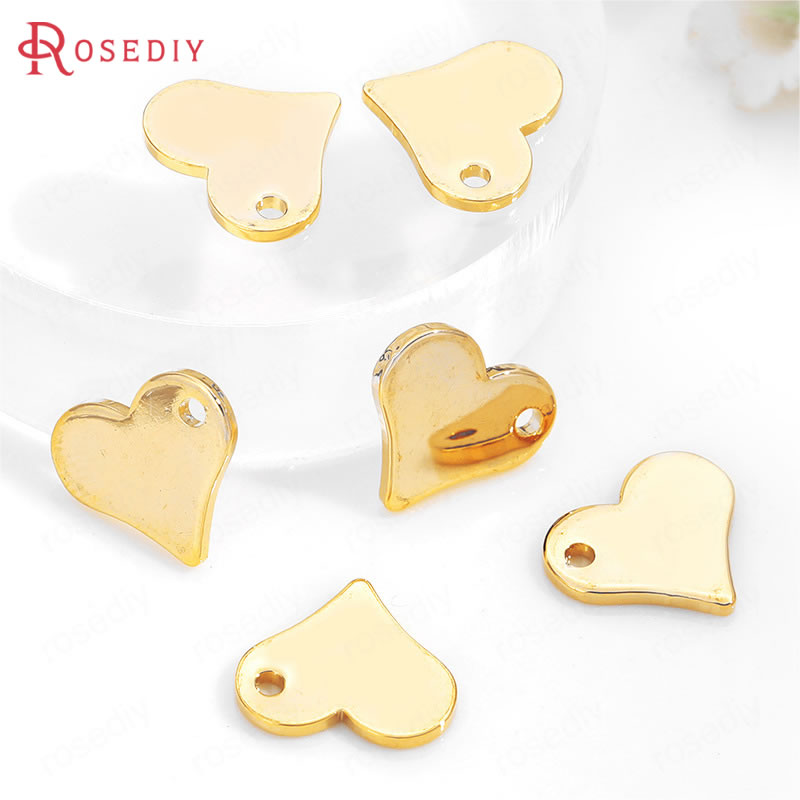 (35686)10PCS 11.5x10MM Hanging Hole 1MM 24K Gold Color Brass Heart Charms Pendants High Quality Diy Jewelry Findings Accessories