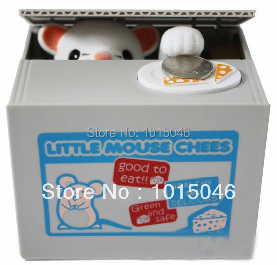 Free Shipping 1X Automated Mouse Steal Coin Piggy Bank Money Box Coin Bank For Christmas Gift
