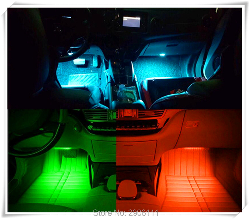 Color LED car interior decoration atmosphere lights for Nissan qashqai tiida almera juke primera x-trail note Sunny March Murano yijinsheng 4x12 led 7 colors car atmosphere lights decoration lamp 12v auto interior lights glow decorative cigarette lighter