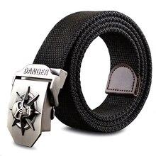 Fashion men's Canvas belt skull Metal tactics woven belt canvas belt Casual pants Cool wild gift for men belts Skull large size