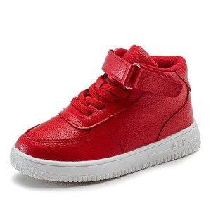 Image 5 - 2019 أحذية الأطفال عادية فتاة أحذية رياضية جلدية عالية مساعدة مقاوم للماء أسود أحمر أحذية أطفال طويلة الرقبة الفتيات الأحذية