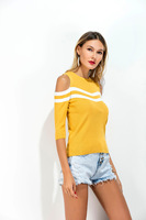 LASPERAL Yellow White Color Blocking 2017 Autumn New Women Sweater Off The Shoulder All Match Knitted