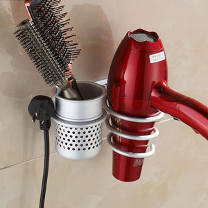 Excellent Quality Aluminum Wall Mounted Hair Dryer Drier Comb Holder Rack Stand Set Storage Organizer Household Use New Arrival