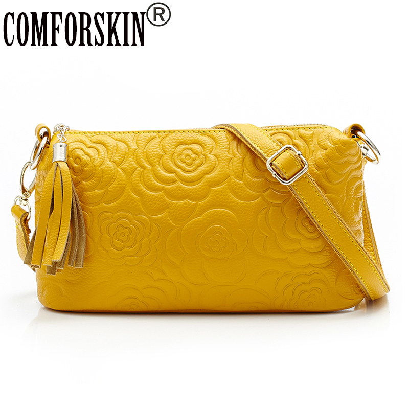 COMFORSKIN Famous Brands 100% Genuine Leather Rose Flower Women Handbags European And American Travelling Shoulder Hand Bags туфли other european brands 2015