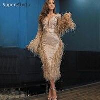 SuperKimJo глубокий v образный вырез перо вечерние платья 2019 длинный рукав, аппликация бисером роскошное вечернее платье De Soiree