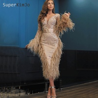 SuperKimJo Deep V Neck Feather Evening Dresses Short 2020 Long Sleeve Applique Beaded Luxury Evening Gown Robe De Soiree