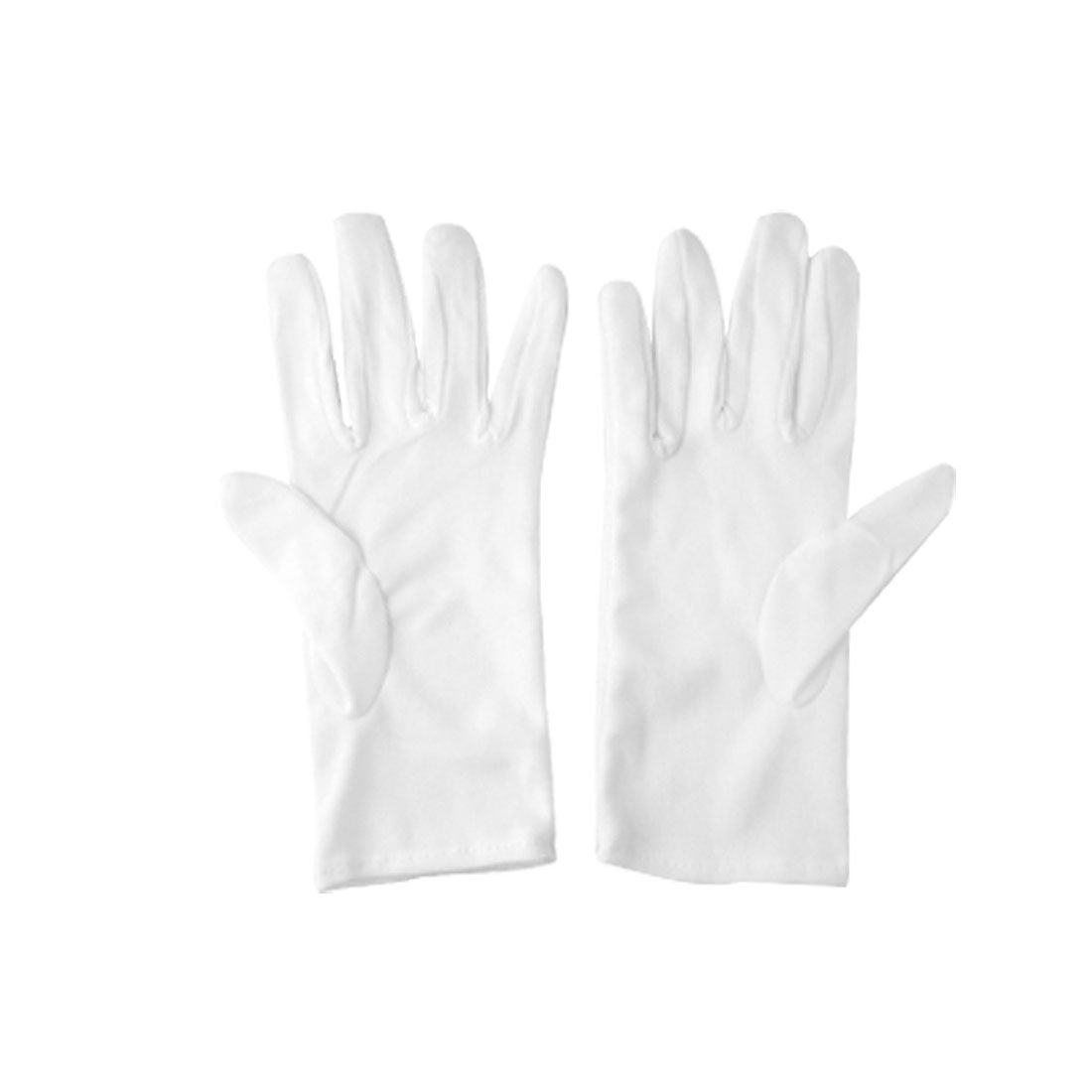 Ladies White Cotton Thin Full Fingers Work Driving Gloves S 2 Pairs