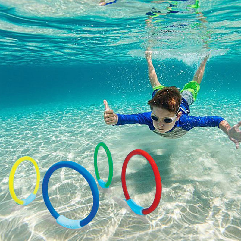 4Pcs/set Plastic Child Kid Diving Ring Swimming Pool Accessories Children Water Play Sport Diving Kids Beach Summer Funny Toys