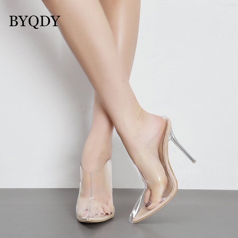 BYQDY Sexy Shoes Woman High Heel 2018 Summer Thin Heels Women Pumps Pointed Toe Summer Shoes For Party Gift Mules Shoes PVC xiaying smile woman sandals shoes women pumps spring summer pointed toe sexy fashion casual thin heel cover heel flock shoes