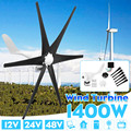 1400 W 12 V 24 V 48 Volt Sei Pale Eoliche Turbine Eoliche Generatore + Regolatore di Potere Regalo Mulino A Vento di Energia turbine di Carica per la Casa