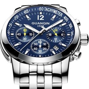 Image 2 - Erkek kol saatiGUANQIN 2019 men watch business Quartz watch Waterproof clock men watch top brand luxury Chronograph Wrist Watch
