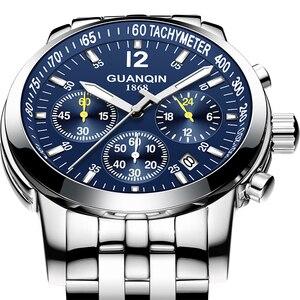 Image 2 - Erkek kol saati GUANQIN 2019 メンズ腕時計ビジネスクォーツ時計防水時計メンズ腕時計トップブランドの高級クロノグラフ腕時計