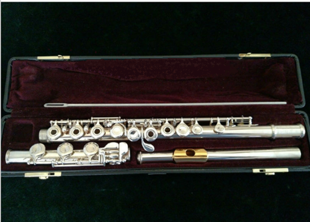 Free Shipping High Quality Brand New Flute Case Silver YFL-471 Silver Plated 17 open C Key B Flute With Case Accessories wooden flute case hard case rosewood color durable 17 hole b foot flute also c foot flute