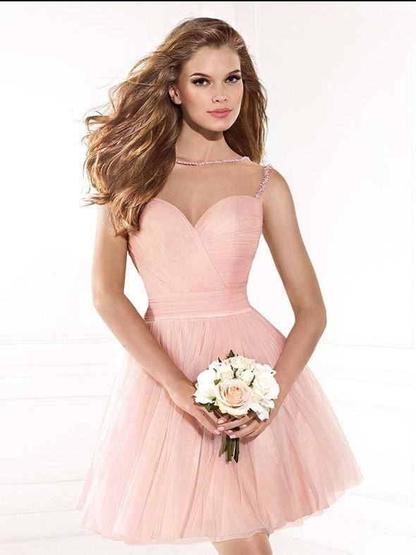 Hot Ing Peach Pink Short Tulle Homecoming Prom Dresses Spring Fall Sheer Bateau Sleeveless Crystals Modest Tail Dress In From
