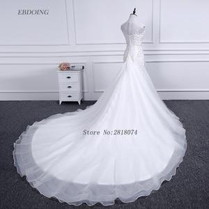 Image 2 - Vestidos de novia sereia vestido de casamento colher decote capela trem noiva casamento com renda miçangas mangas curtas plus size