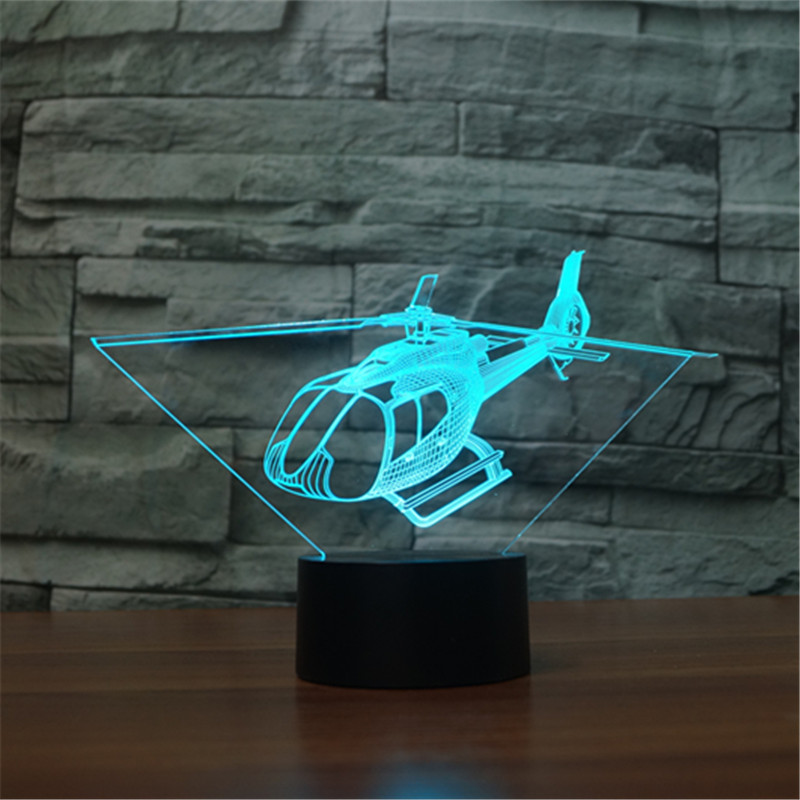 Trend Mark Free Shipping New Helicopter 7 Color 3d Lights Touch Vision Light Gradient Led Lamp Christmas Presents For Children Rapid Heat Dissipation Toys & Hobbies