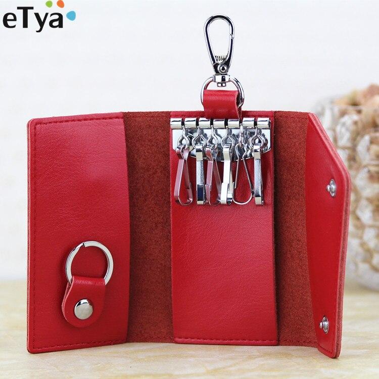 Fashion Women Men Key Wallets Keys Organizer Wallet Purse Genuine Leather  Unisex Key Card Money Holder Housekeeper Bag