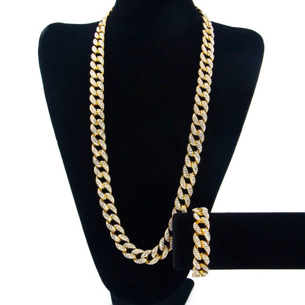 """Miami chaîne à maillons cubains couleur or entièrement glacé strass Hip Hop Bling 2016 offre spéciale 15mm 30 """"collier et 8.5"""" Bracelet-in Parures de bijoux from Bijoux et Accessoires    2"""