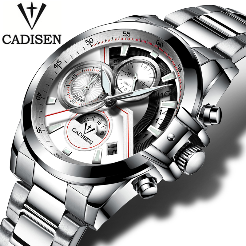 CADISEN Military Sport Mens Watches Top Brand Luxury Casual Men Wristwatch Army Clock Stainless Steel Relogio Masculino Quartz cadisen top new mens watches top brand luxury complete calendar 3atm sport watches for men clock stainless steel horloges mannen