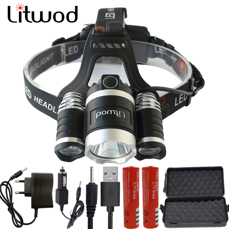 LED Headlight 12000 Lumen Chips 3x XM-L T6 LED Head Lamp Flashlight Lanterna 4 Switch Model Led Headlamp Choose For Camping