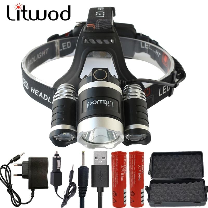 Litwod Z20BR LED Headlight 15000LM Headlamp Chips 3x XM-L T6 LED Head Lamp Fishing Hunting Flashlight 4 Switch Model Lanterna