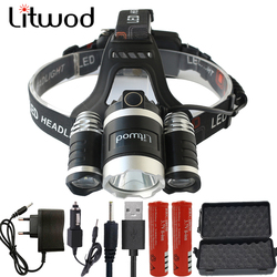 Litwod z20BR LED Headlight 15000LM Headlamp Chips 3x XM-L T6 LED Head Lamp Fishing hunting Flashlight 4 Switch Model Lanterna