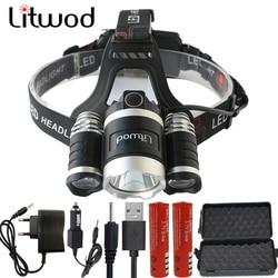 Litwod z20br led farol 15000lm chips 3x xm-l t6 led lâmpada de cabeça pesca caça lanterna 4 interruptor modelo lanterna