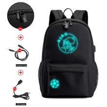 AJAX öğrenci okul sırt çantası genç kız erkek Bookbag USB Anti theft Laptop tuval su geçirmez sırt çantası erkekler için