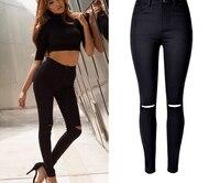 Kadınlar Siyah Renk Yüksek Bel Skinny Sıkı Uzun Kalem Kot Moda Streç Sökük Calca Diz Elastik Skinny Jeans Pantolon