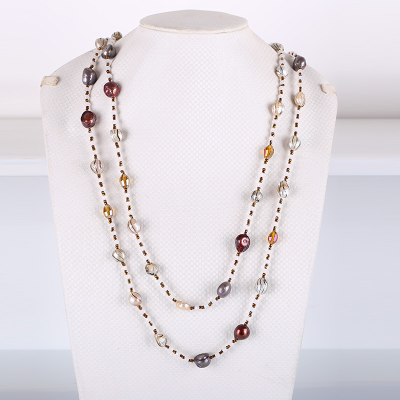 JIUDUO Stylish multi layer natural freshwater pearls and crystal necklaces for all kinds of ball engagements