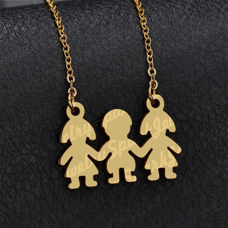 Lucu Anti Karat 1 Anak Laki Laki 2 Perempuan Gambar Keluarga Kalung Liontin Untuk Ibu Ayah Warna Emas Cinta Rantai Kalung Hadiah Persahabatan Aliexpress