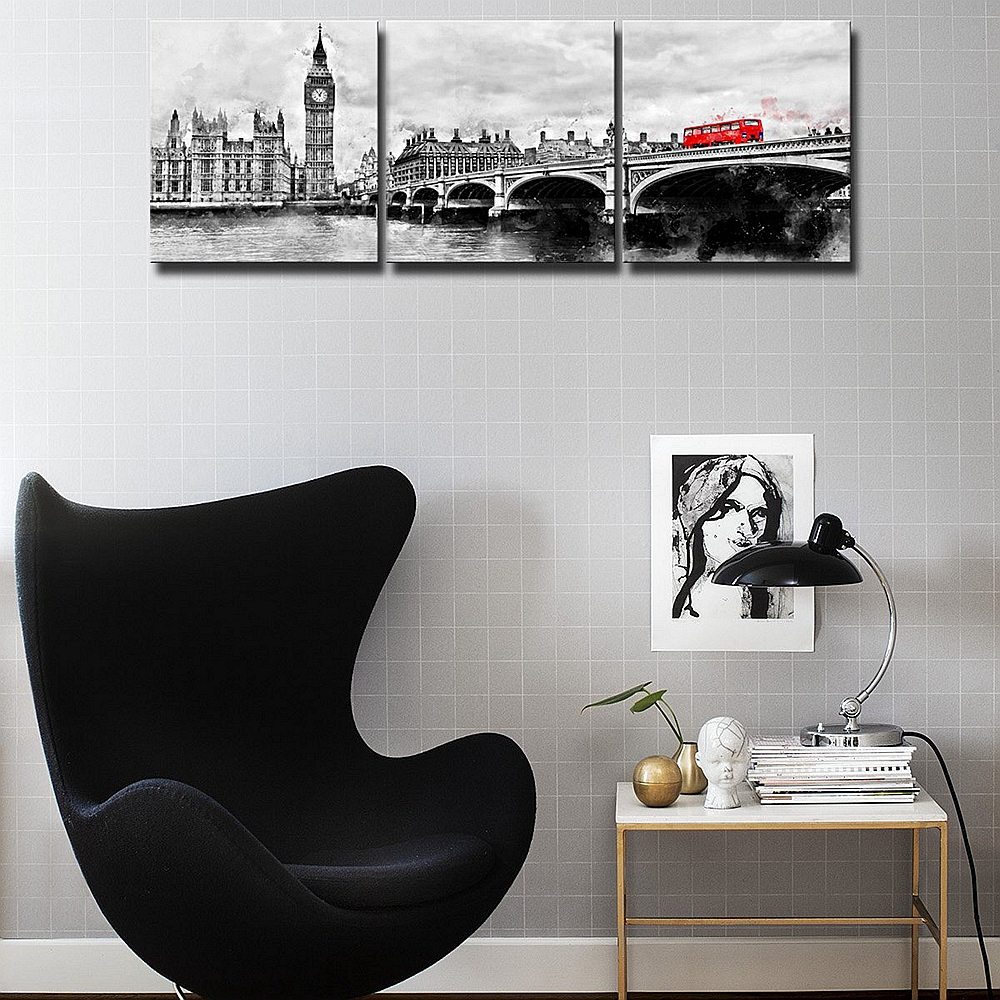 Black And White London Big Ben Red Bus Canvas Paintings For Dining Room Wall Decor Landscape Art Home Decoration