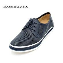 Zapatos Con Cordones de zapatos de cuero de los hombres Básicos Primavera/Otoño Azul Brown Ruso tamaño 39-45 Envío gratis BASSIRIANA