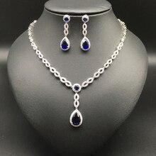 2017 NEW FASHION,romantic elegant blue water drop zircon necklace earring set,wedding bride party dress banquet formal jewelry