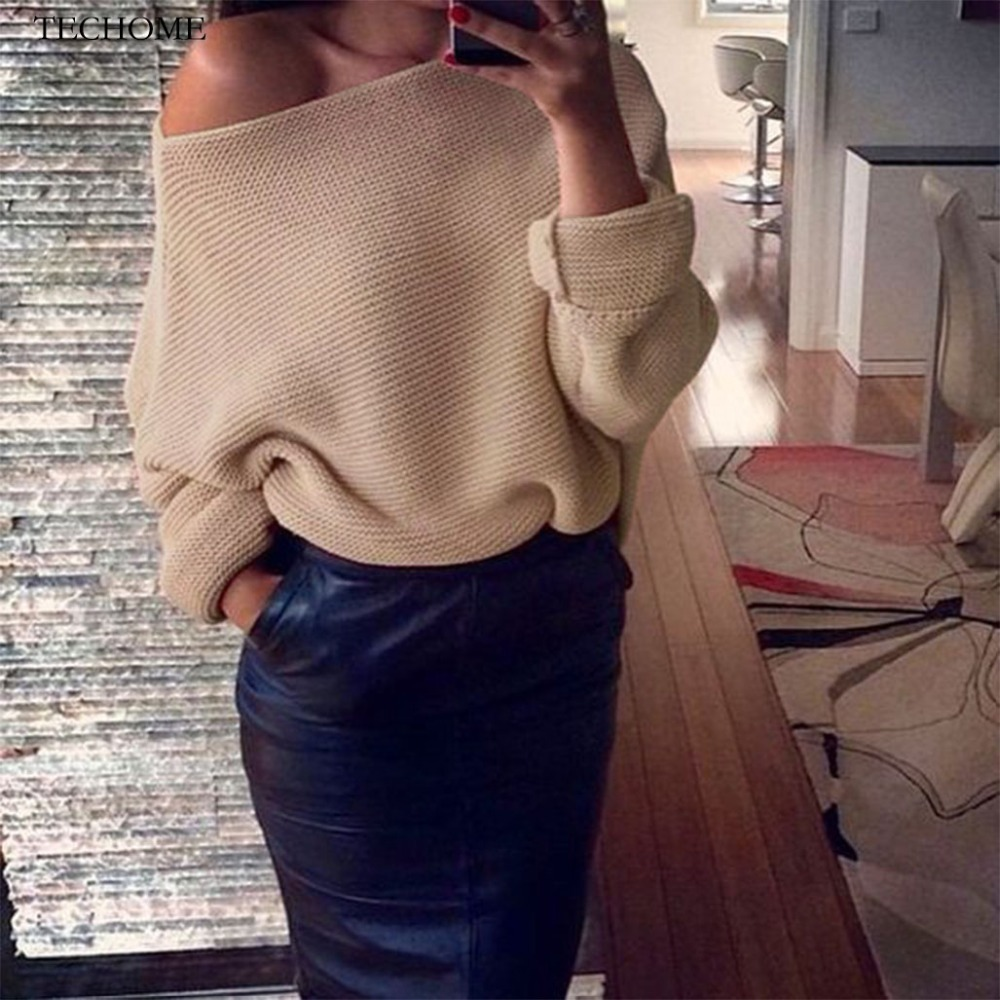 TECHOME 2018 Spring Off Shoulder Knitted Sweater Sexy Batwing Sleeve Sweaters Fashion Slash Neck Jumper Casual Loose Pullover