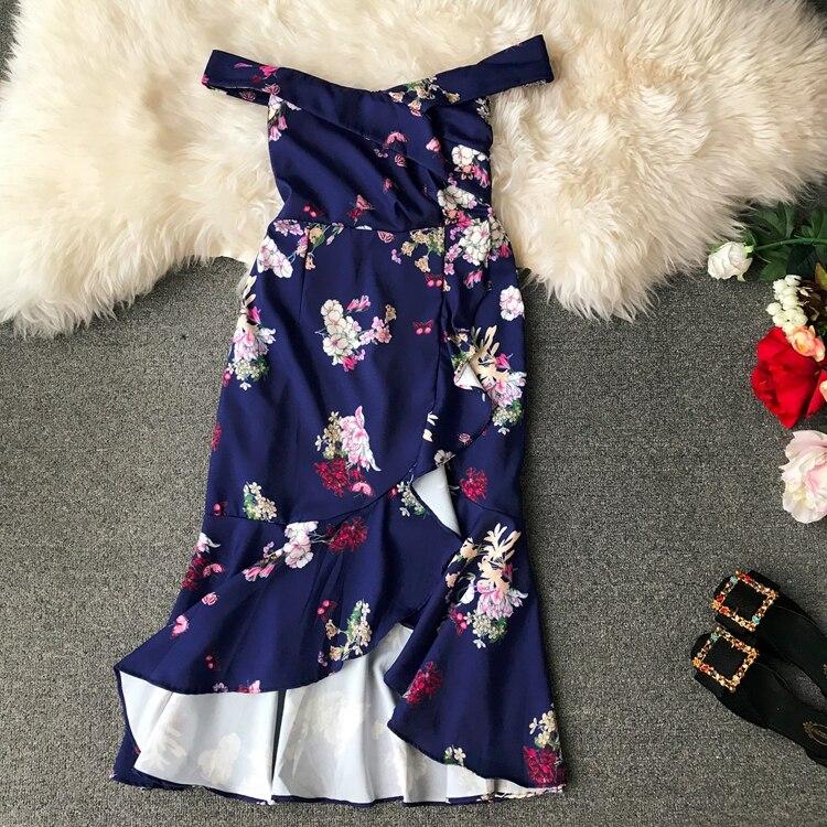2019 summer sexy Slash neck Summer Dress Women floral print Irregularity dresses Vestidos 1
