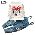 LZH Baby Girls Clothes Sets 2017 New Spring Autumn Fashion Cartoon T-shirt Overall Pants Kids Girl Sports Suit Children Clothing