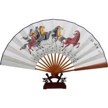 Ручная роспись китайский подарок Вентилятор живопись Большой Бамбук рисовая бумага вентилятор украшения складной ручной вентилятор