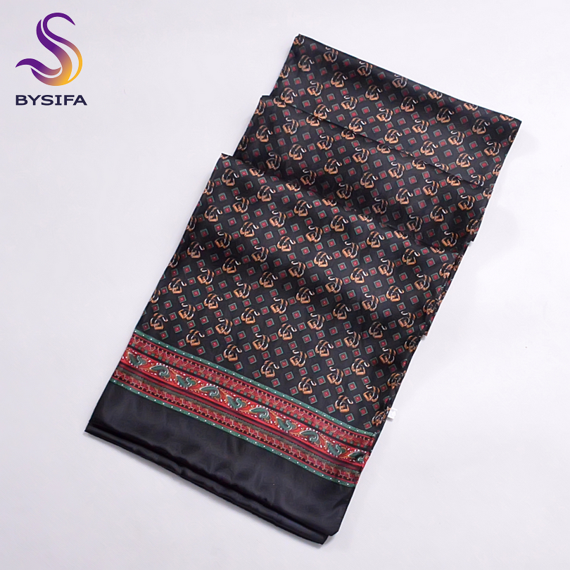 [BYSIFA]  Winter Black Plaid Men Silk Scarf  2016 New Spring Autumn 100% Pure Silk Male Long Scarves Neck Warmer Scarf 160*26cm